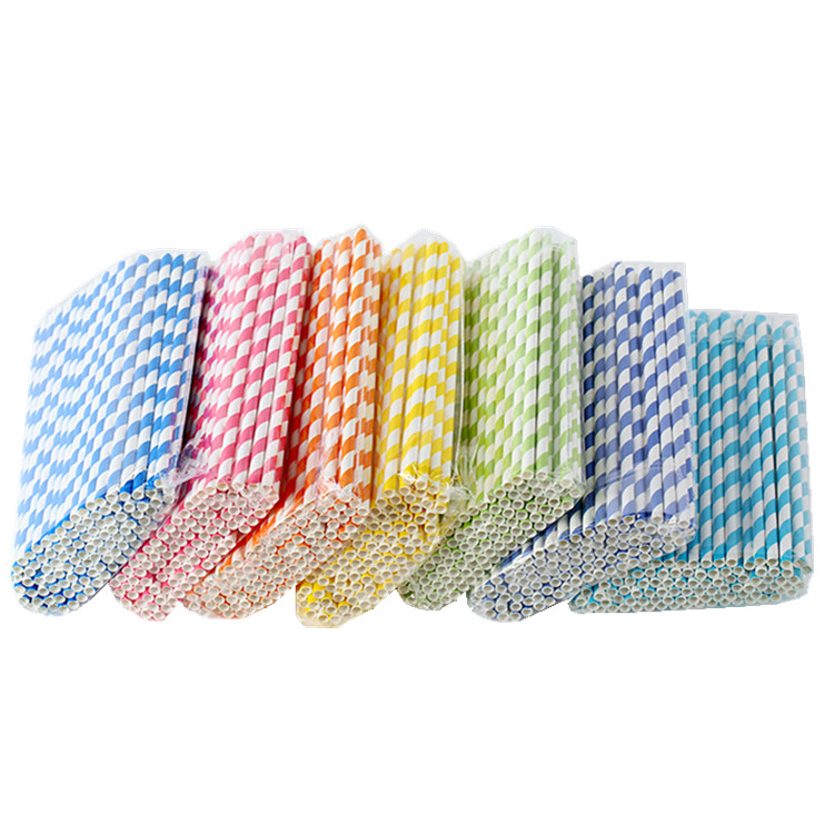 THINKGREEN EU/FDA Certificate Disposable Degradable Polka Dots 3 layers Paper Bio Drinking Straw Wholesale