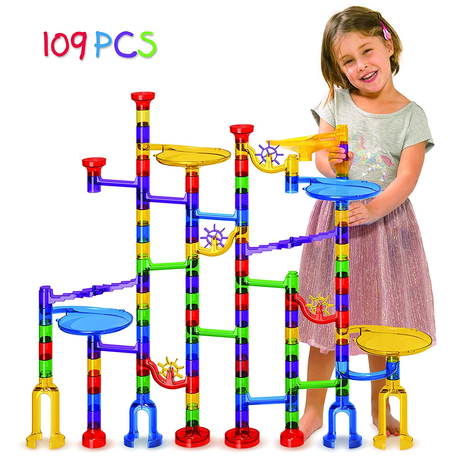 Tomi Toys Marble Run Super Set - 109 Pieces (84 Action Pieces + 25 Glass Marbles) - Marble Maze Race Track Game for Kids 4, 5, 6 Years Old and Up Marble Run Sets for Educational Learning - STEM Buil