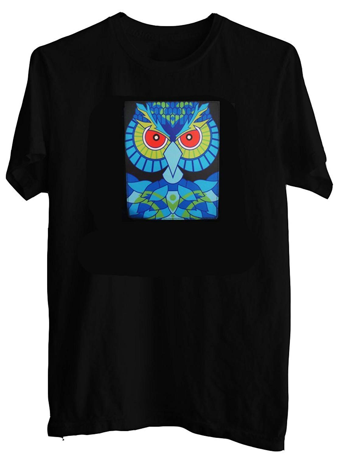 76263330a42 Get Quotations · Rave Raptor Sound Activated Shirt EDM Owl LED Shirt Light  Up T-Shirt