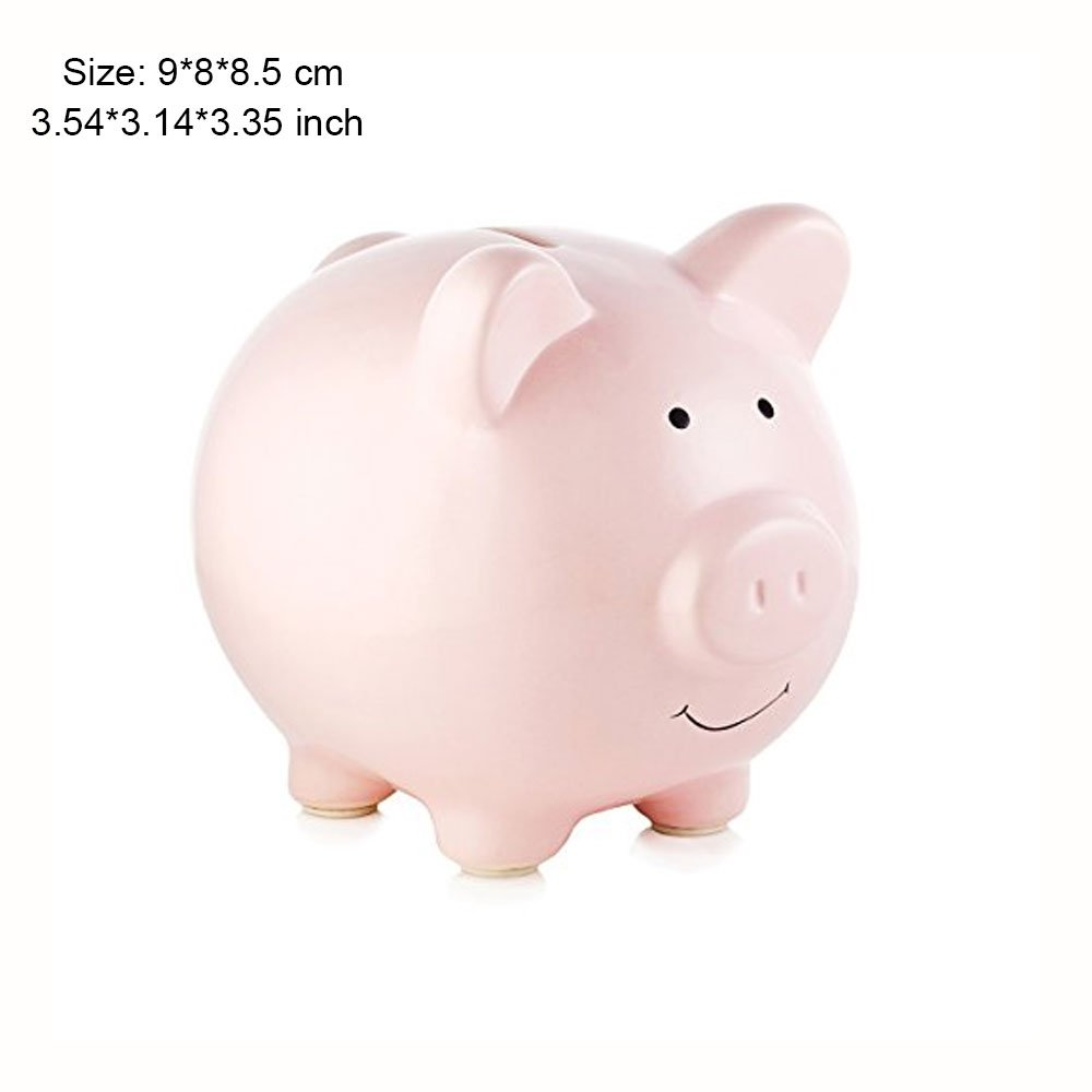 Piggy Bank, Mini & Small Cute Ceramic Coin Money Piggy Bank, Makes a Perfect Unique Gift, Nursery Décor, Keepsake, or Savings Piggy Bank for Kids, Pink