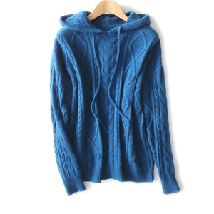 suitable fit OEM Custom High Quality cable knitted Navy Blue fashion design Men's Pullover wholesale Sweater man Hoodies
