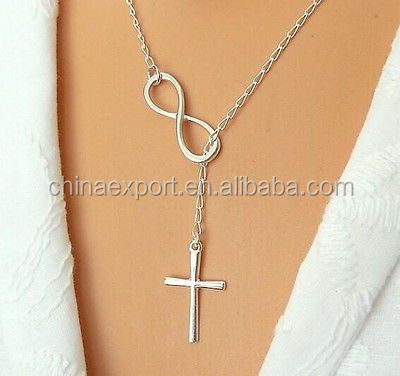 Popular unique design Infinity cross layer necklace three layer