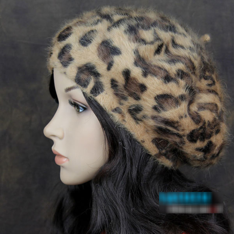Fashion Winter Caps for Women Rabbit Hair Berets Leopard Printed Hats for Ladies Animal Fur Beanies Boina Feminina Leopard Hats
