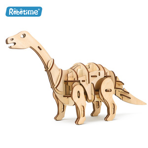 Robotime R/C sound/light control D420 Apatosaurus 3D wooden puzzle for teenagers and adults