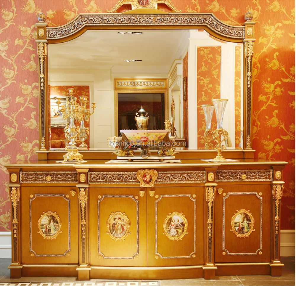 Luxury french louis xv style golden brass console table for Console avec miroir