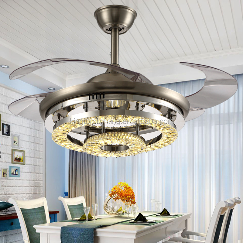2017 new style modern indoor invisible led fan crystal chandelier lamp