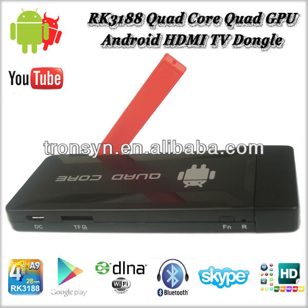 New Arrival Rockchip RK3188 ARM Cortex A9 Quad Core Android TV Dongle With External Antenna