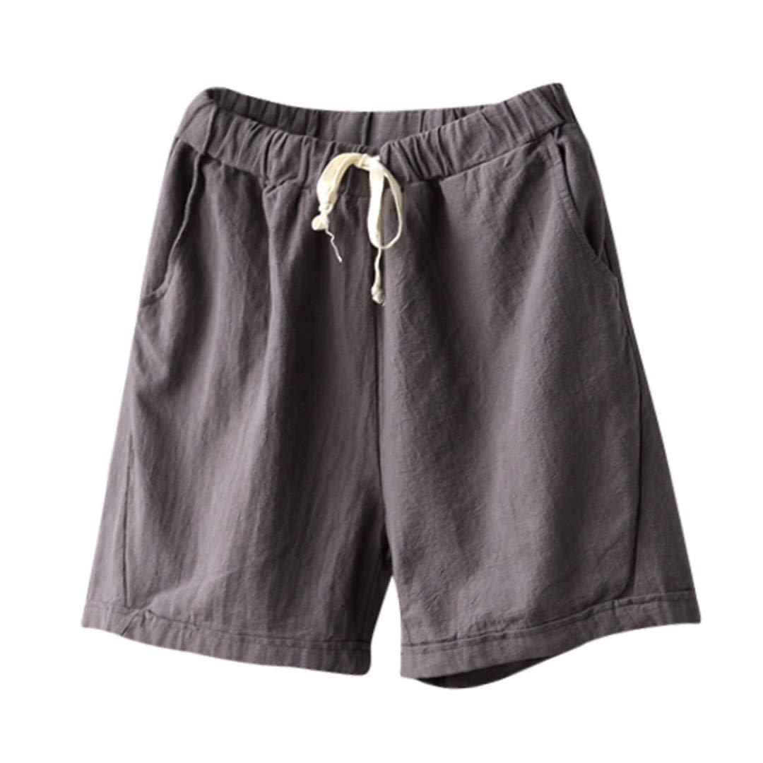 aee6c77c95 Get Quotations · Women Cotton Linen Summer Short Pants Elastic Waist Pocket  Casual Shorts Jersey Lounge Walking Shorts