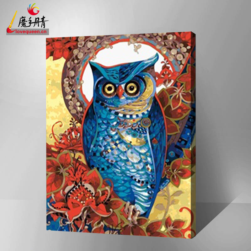 colorful owl diy art painting by numbers best model abstract wall hanging painting