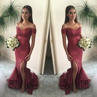 PS-54 Stunning Design Sexy Seductive Side Slit Mermaid Prom Gown Off Shoulder Red Long Prom Dresses