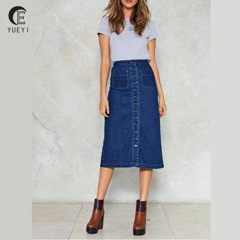ec1a0bc4c8 women dark blue denim midi skirt