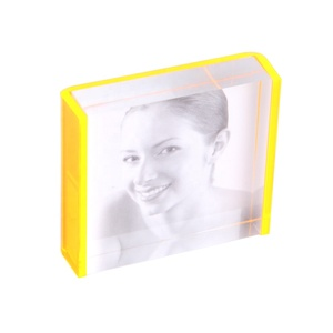 Beautiful girl clear color acrylic glass block photo frame with neon orange color