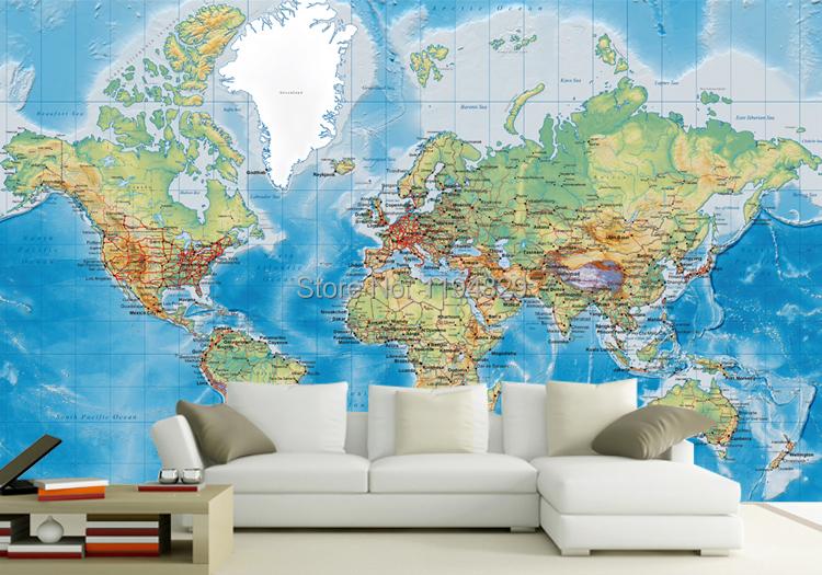 Original World Map Large Mural Wallpaper TV Sofa