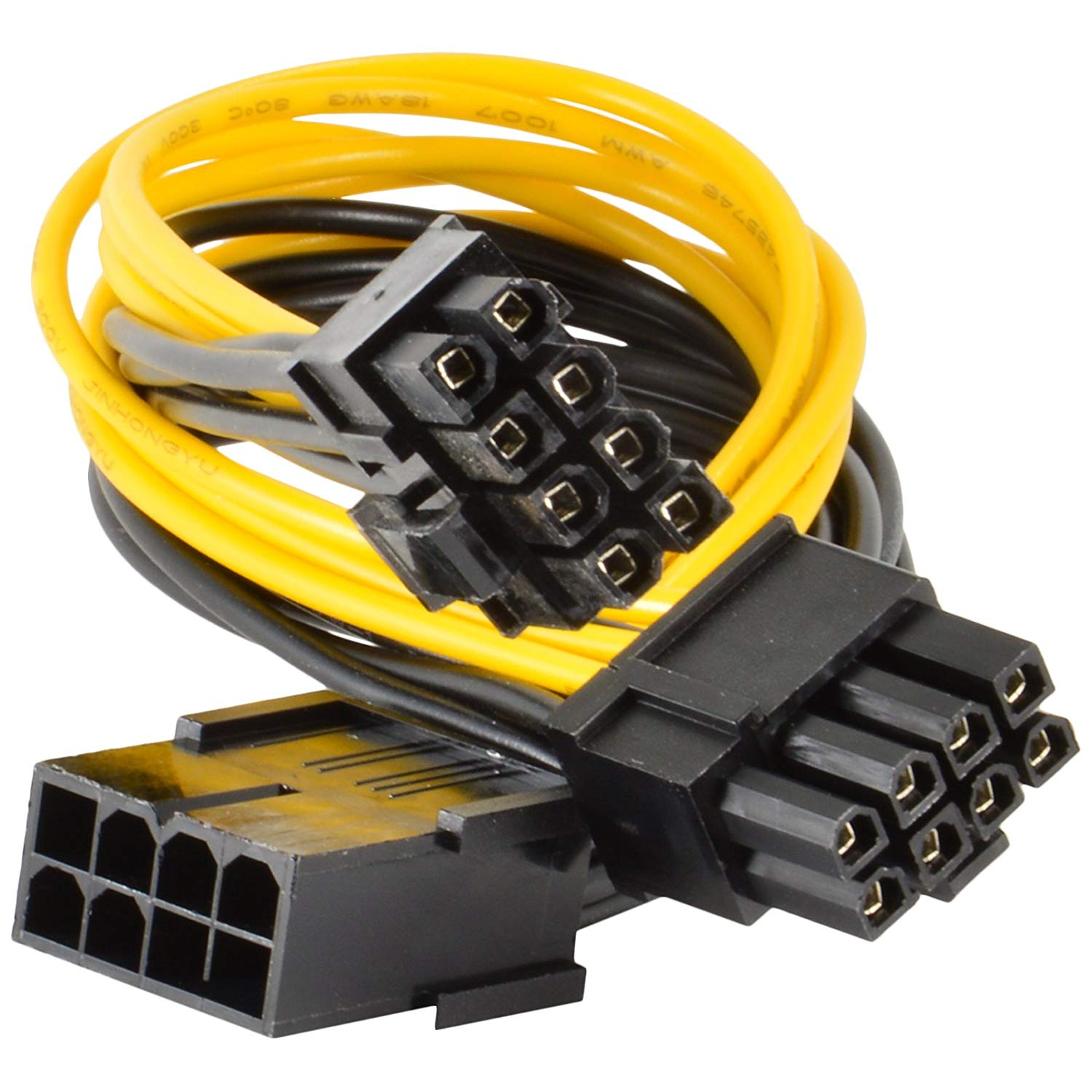 JacobsParts PCI Express Power Splitter Cable 8-pin to 2 x 6+2-pin (6-pin/8-pin) 18 AWG (5-Pack)
