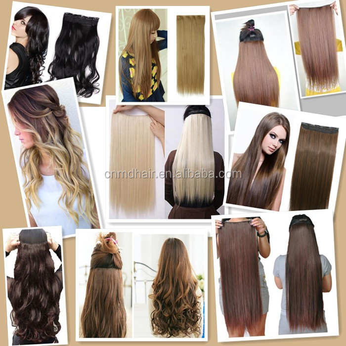 1PC 24inch 130g Straight Clip in False Hair Pad Synthetic Hair Styling 5 Clip