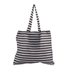Black and white stripe long handle supermarket polyester folding shopping bag