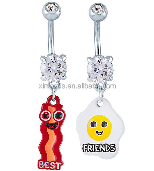 Fancy Bacon And Egg Charming Magnetic Dangle Navel Belly Button Ring Body Piercing Jewelry Buy Bacon And Egg Belly Button Rings Charming Navel Belly