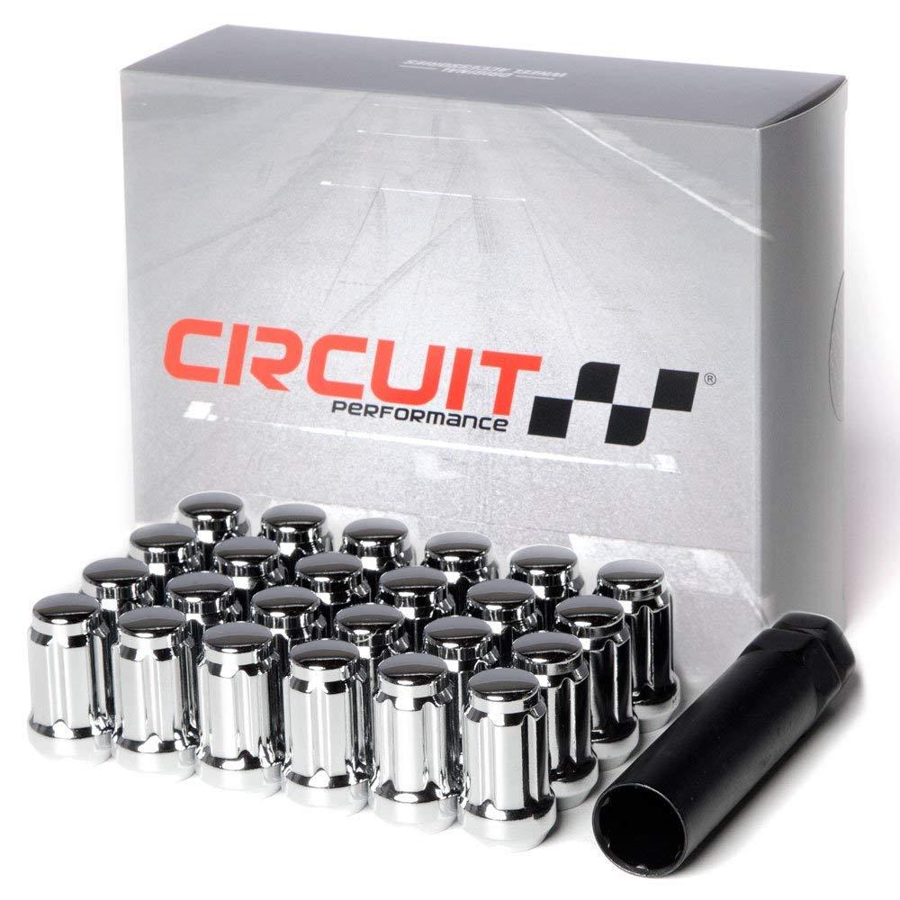 Circuit Performance Spline Drive Tuner Acorn Lug Nuts Chrome 12x1.25 Forged Steel (24pc + Tool)