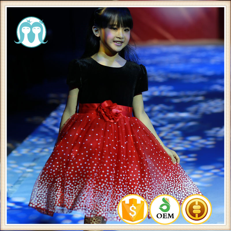 32d4b7aa3b13 party gwon clothes red dotted western girls dancing dress graduation  ceremony dress clothing kids