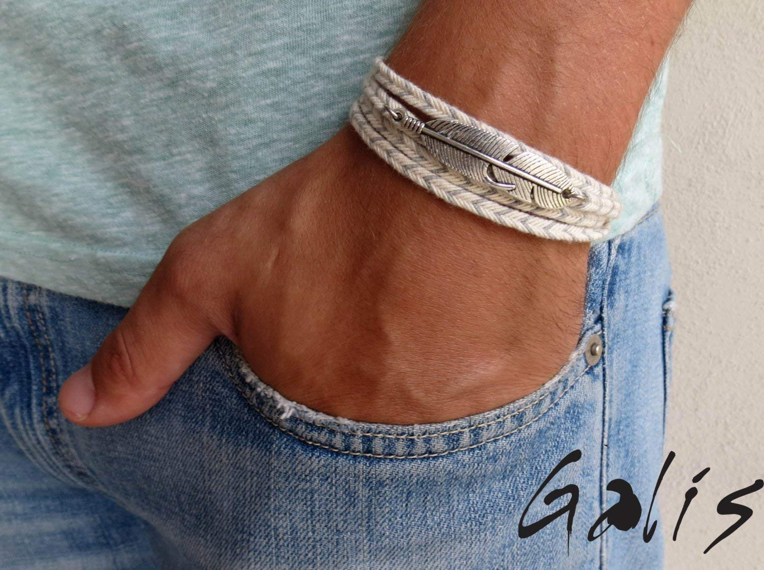 Handmade Wrap Gray and White Fabric Feather Bracelet For Men By Galis Jewelry - Wrap Bracelet For Men - Gray Beacelet For Men