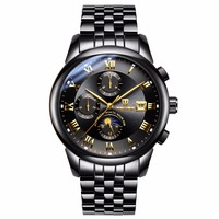 New Coming Luxury Automatic Men's Black Watch ,With Six Dials Multiple Time Zone Wrist Watch