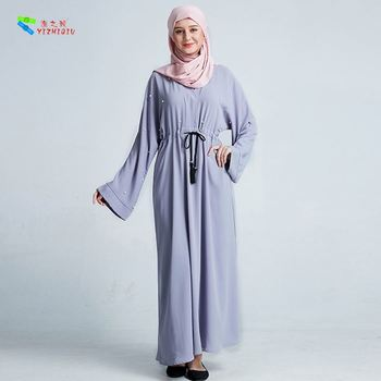 YIZHIQIU Dubai Handmade Beaded Bat Sleeve Robe Clothing Plus Size Muslim Women Dress