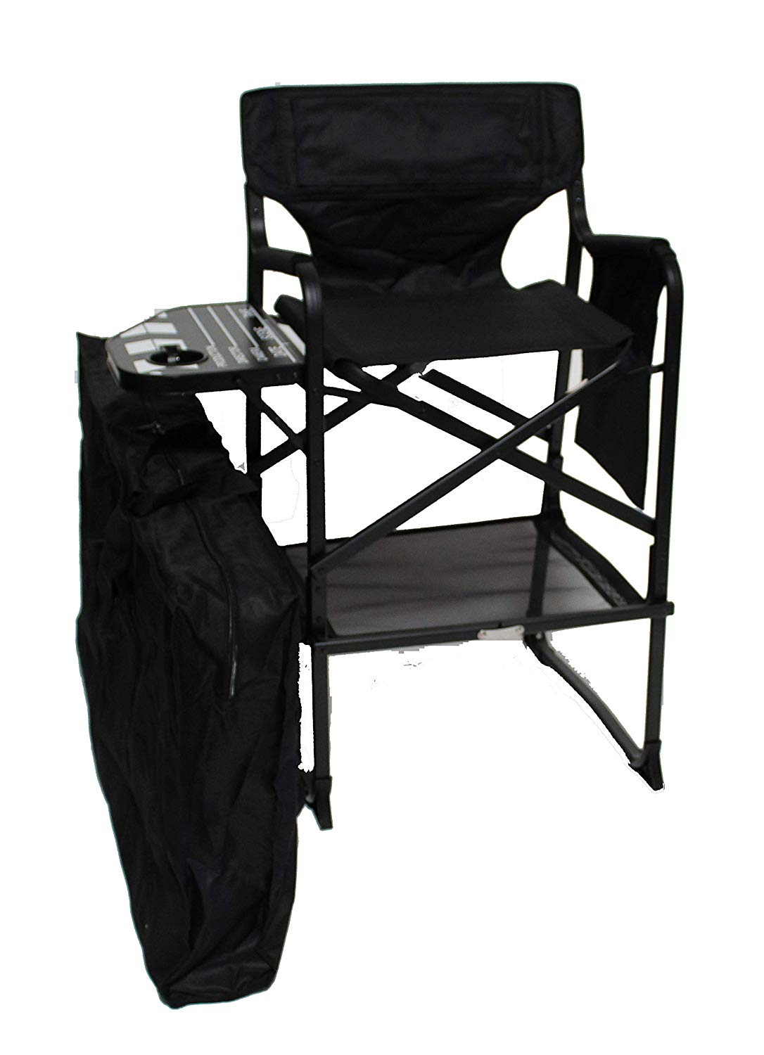 World Outdoor Products Hollywood Professional Lightweight Tall Directors Chair Includes a Limited Edition Clapper Board Side Table, Cup Holder, Side Bag, Automatic Footrest and Carry/Storage Bag.