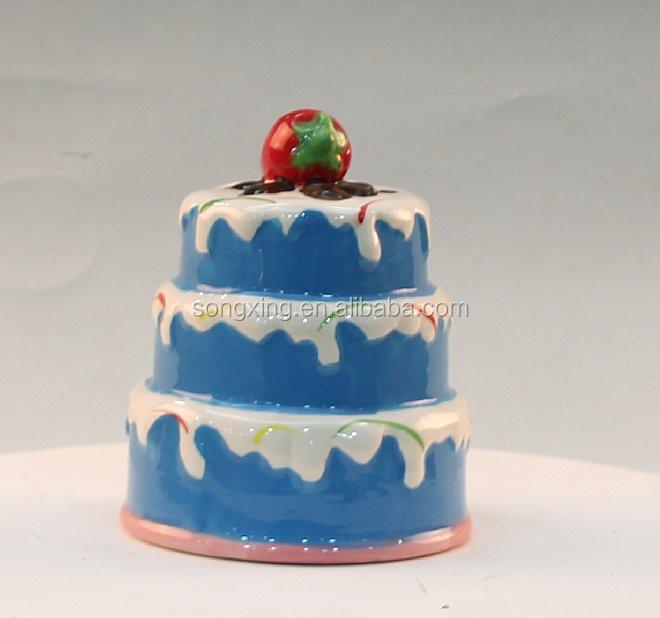 Custom Ceramic Delicious Blue Cake For Kid Coin Bank Buy Cake