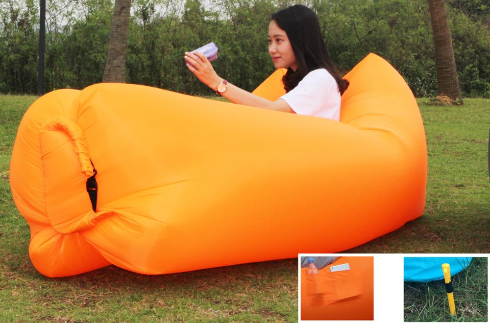 2017 Hot Sale Summer Products Travel Outdoor Chair Portable Lounger Sleeping Bag Inflatable Air Bean Bag
