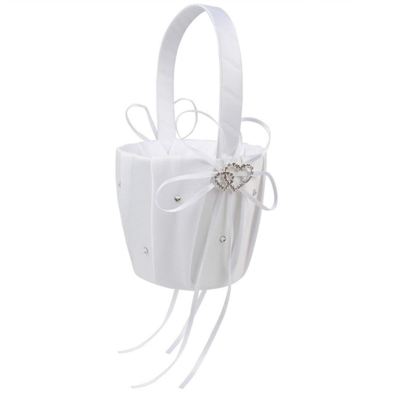 Coxeer Flower Basket Wedding Basket Decorative Romantic Rhinestone Double Hearts Decor Flower Girl Basket