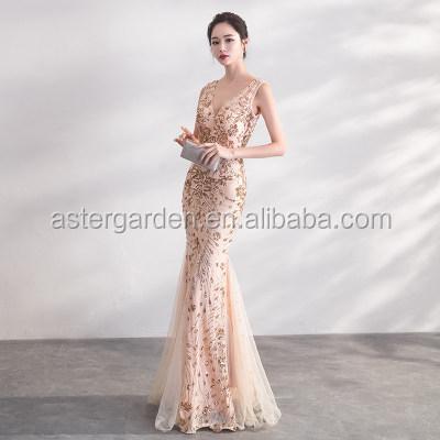 Sexy fishtail banquet evening dress champagne elegant v-neck beaded evening dress