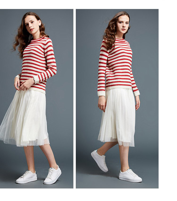 Free sample spring striped crew neck trendy sweater woman 2019