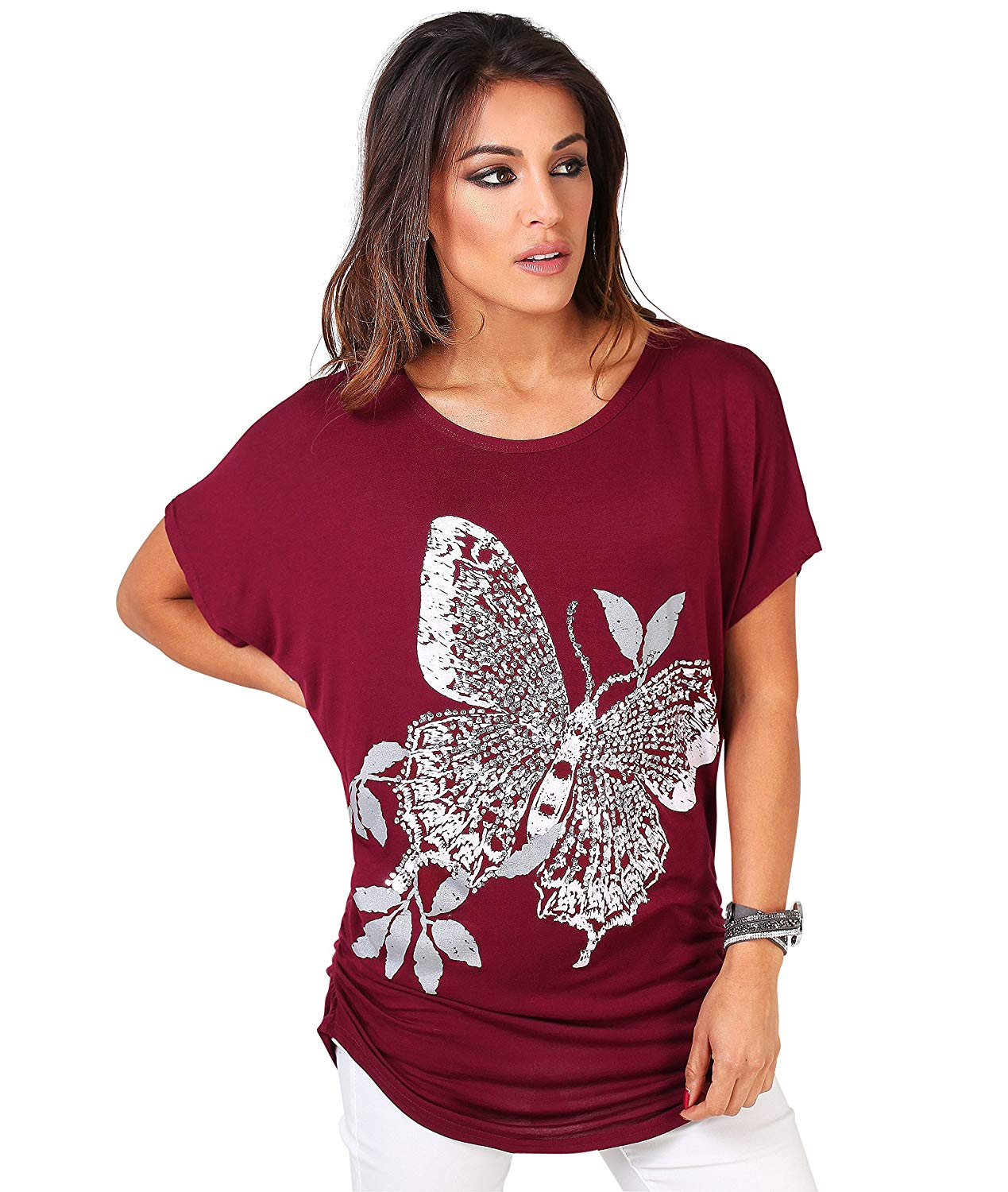 9137993e Get Quotations · KRISP Women's Fashion Casual Oversized Comfy Sequin  Butterfly Print Shirred T-shirt US ...