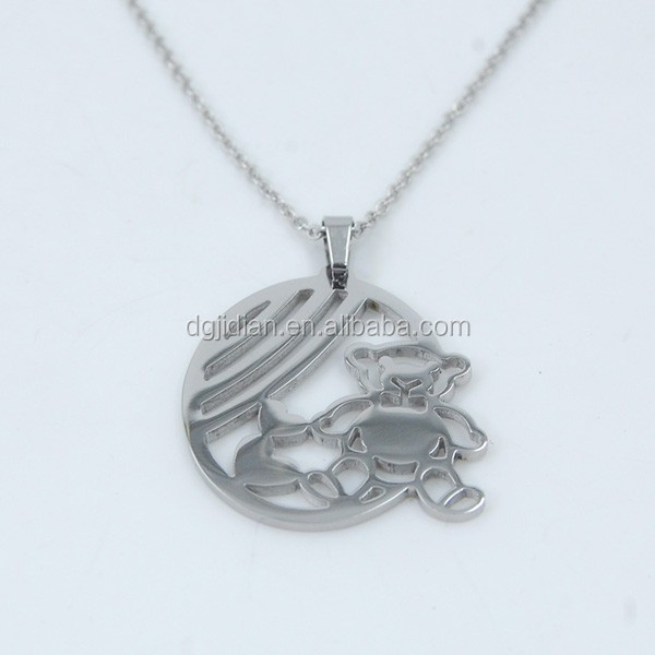 Various image laser cut on stainless steel pendant jewelry