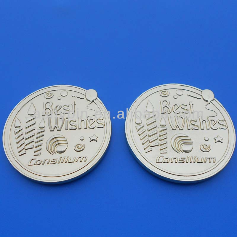 Custom Coin For Happy Birthday Gifts/engraving Best Wishes Round 3d Silver  Coin - Buy Custom Made Silver Coins,Custom Metal Double Sides