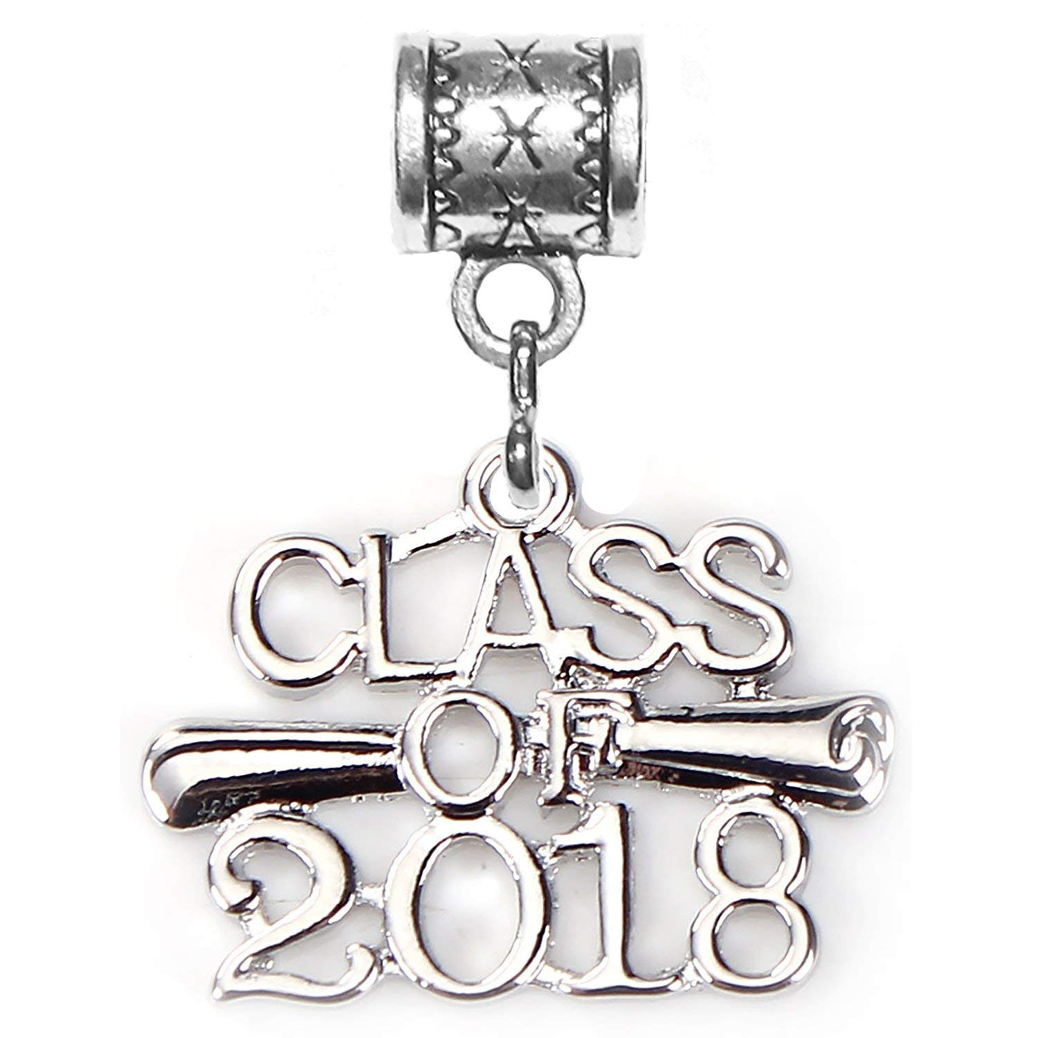 """Class of 2018 charm"" antique silver charm by Mossy Cabin for modern large hole snake chain charm bracelet, or add to a neck chain, pendant necklace or key chain."