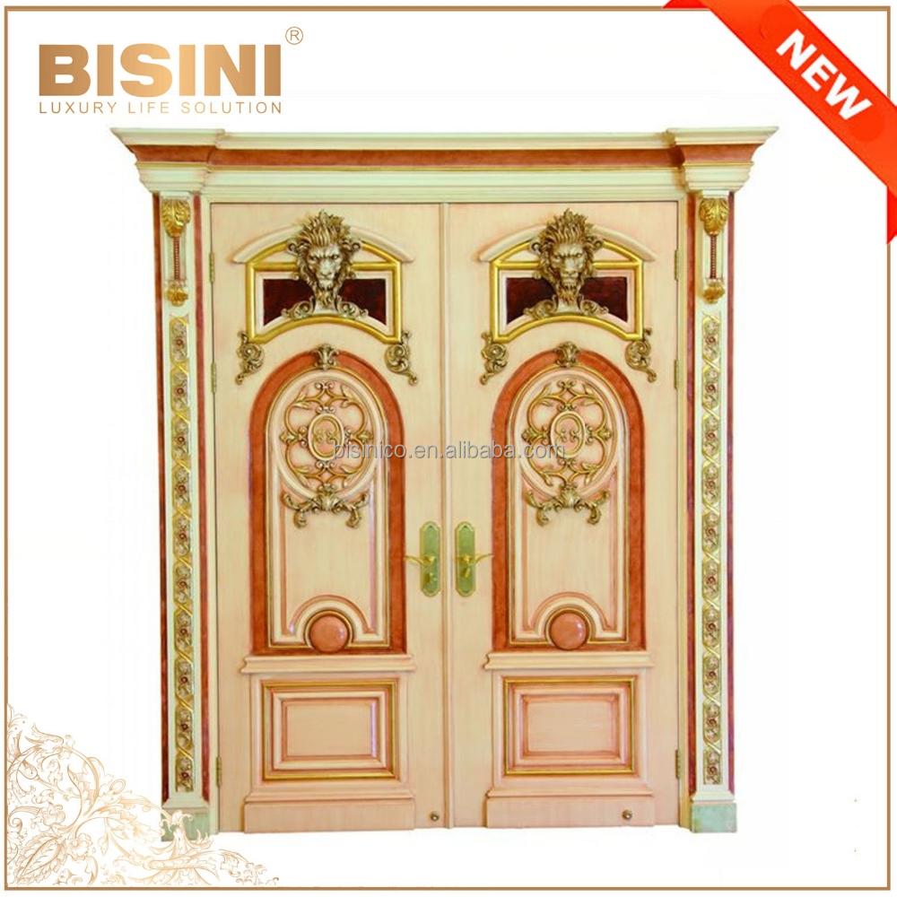 Estilo barroco franc s rosa marco columpio doble puerta for Puertas de madera estilo antiguo