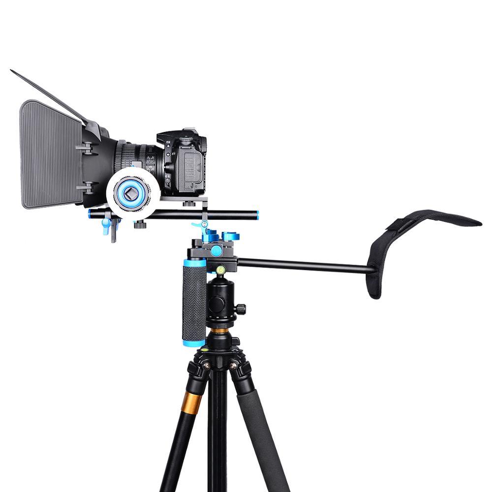 YELANGU D101 Removable Shoulder Rig Mount Follow Focus Matte Box with Top Handle for DSLR Video Camera, Camcorder