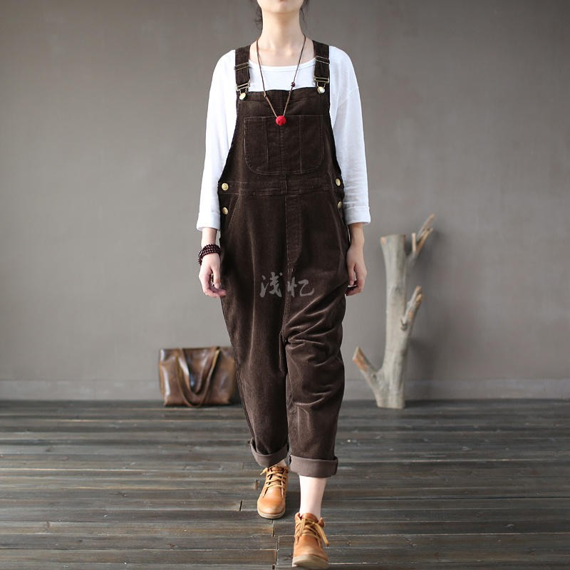 35b29f598f9 2019 Wholesale 2016 New Arrival Women Corduroy Overalls Boy Friends ...