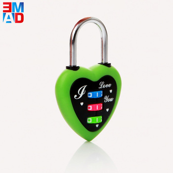 3 digit combination heart shaped code lock lovely travel luggage cute lock for children