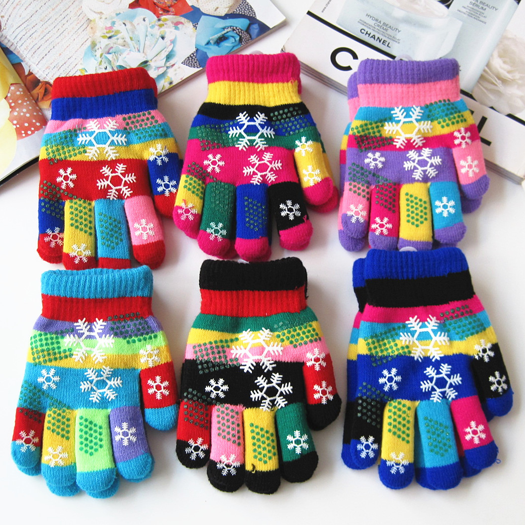 Autumn and winter kids thicken thermal yarn knitted gloves