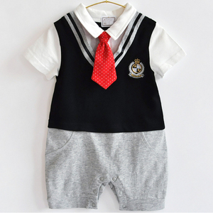 2017 New fashion baby clothes with fine cotton fabric newborn boys baby romper short sleeve with red tie Infants