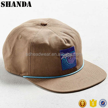 7852beddbcb Flat embroidery nylon rope canvas five panel custom snapback hat with string