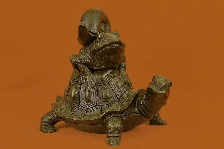 Buy ...Handmade...European Bronze Sculpture Frog On Turtle W/ Snail ...