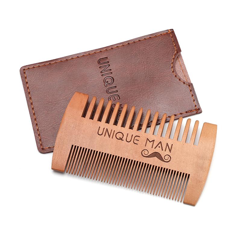 Hot sale fine coarse teeth anti static custom small wooden mustaches comb mens beard pocket comb