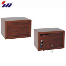 Hot sale 200X310X200mm wood grain small car safety key lock safe box for home
