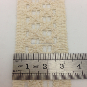 wenzhou kaiyuan ivory garment neck crochet floral cotton braid lace trim
