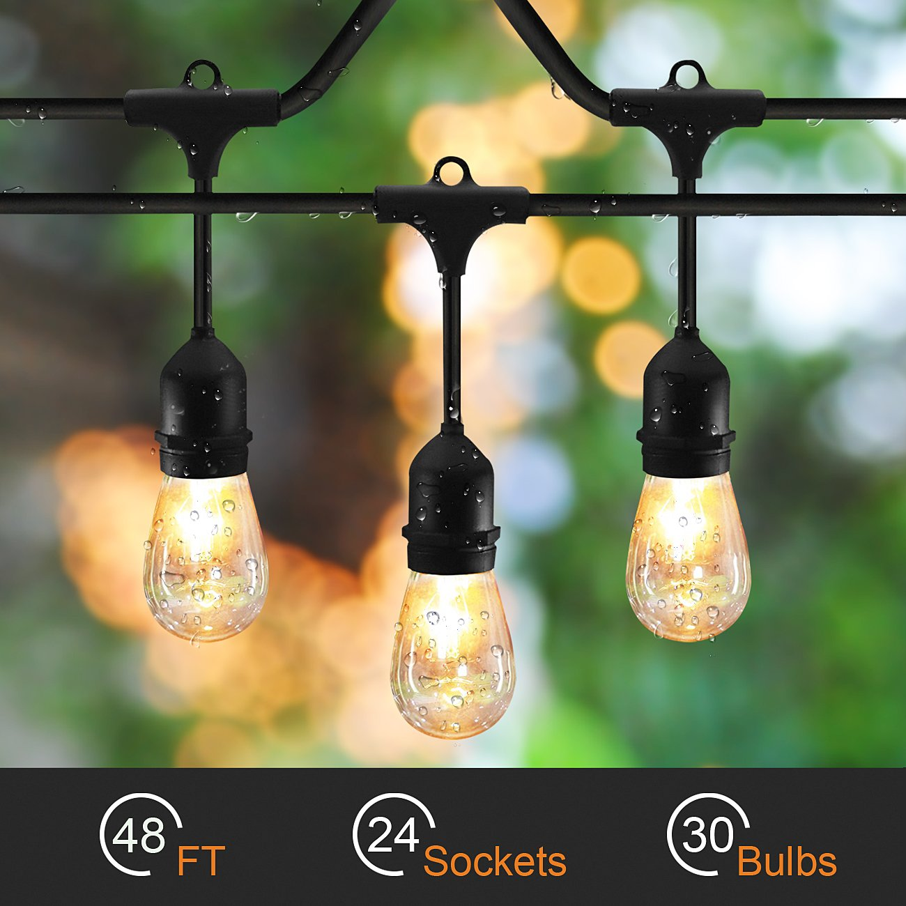 SLZ SUNTHIN 48ft String Lights with 24 x E26 Dropped Sockets and Hanging Loops - 30 x 11 Watt S14 Bulbs Included (6 Spares), Indoor/Outdoor Light Strings, String of lights.