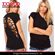 Mujeres recortable backless sexy back abrir volver angel wing crop top blusa casual
