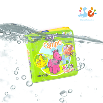 Customized EVC Inflatable Floating Bath Book Waterproof baby Bubble Magic water Soft Book